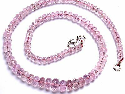 Natural Gem Morganite Faceted 5-9MM Roundel Beads Necklace Fine Quality 16 Inch
