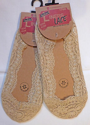 Tom Franks One Size Lace Edged Footsies 2 pairs with Non Slip Silicone Grips