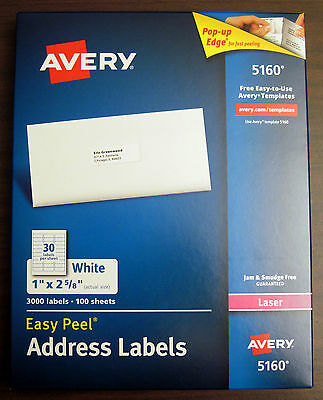 "Avery 5160 Easy Peel White Laser Mailing Address Labels (1"" x 2 5/8"") Box 3000"