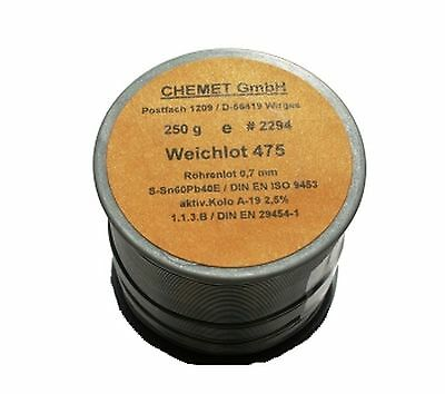 Soldering wire Sn60/Pb40 0.70mm 250g with flux Chemet