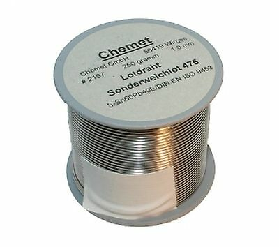 Soldering wire Sn60/Pb40 1.00mm 250g without flux Chemet