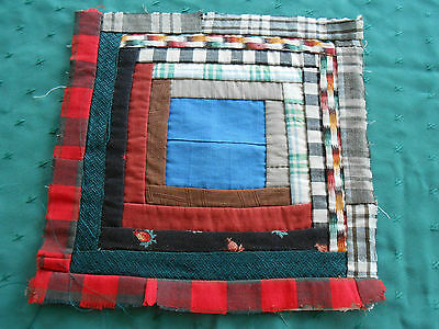 Early 20Th. Century Log Cabin Hand Stitched Quilt Block,  Circa 1900