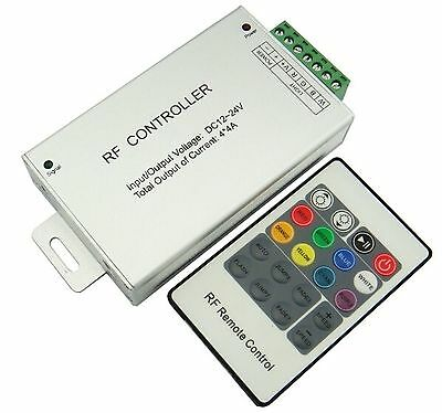 RGB + White LED controller with RF remote control 12Vdc 4x4A 192W