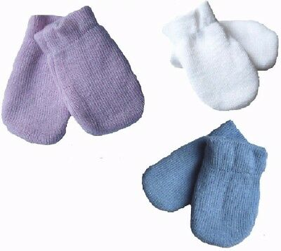 *Knitted Baby winter Mittens* Thick Gloves Mitts PALE Pink Blue White