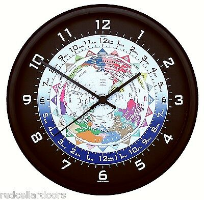 """New TRINTEC WORLD TIME Clock 24 Time Zones Colorful Map UTC GMT ZULU NEW 10"""""""