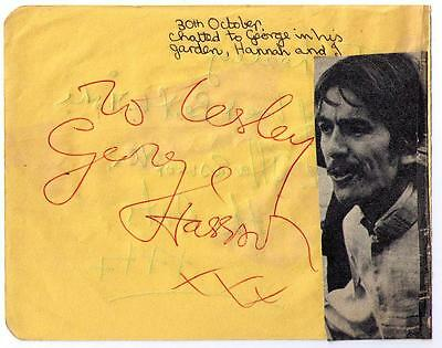George Harrison Signed Sunday 30Th Oct 1966 Autograph Book Page The Beatles