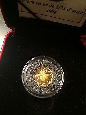 2004 Canada Moose 1/25 Oz. - .9999 Fine Gold Proof 50 Cents Coin with Box & COA