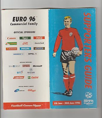 Supporters guide  EURO 96 england 8th june 30 june 1996 football 104 pages