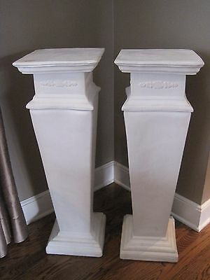 "Beautiful Pair of Estate White Plaster Pedestals, 35"" Tall"