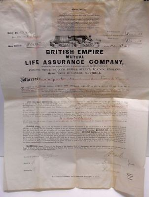 1886 British Empire Mutual Life Insurance Policy