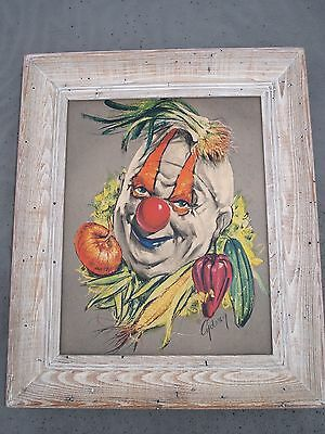 Vtg Anthropomorphic Vegetable Clown picture Framed