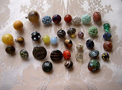 Lot 34 Glass Ball Buttons Paperweights Murano And Other