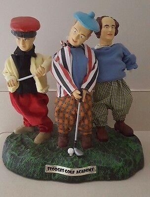 "Three 3 Stooges 12"" Golf Academy Bobblehead Collectible Statue Figure Moe Curly"
