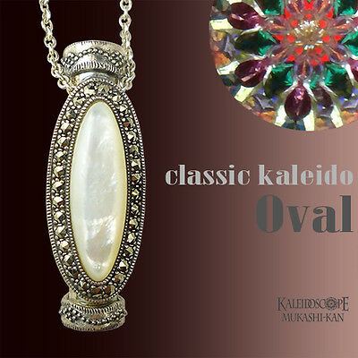 Kaleidoscope Silver Pendant Necklace Marcasite -Oval- Dry 2mirror Japan Art New