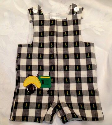 Vintage Classic Traditions Black & White Check Tractor Romper Boys Size 24 Mo.