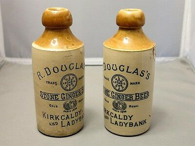 R Douglas's Stone Ginger Beer Bottles LOT OF TWO (2) Antique Stoneware Bottles