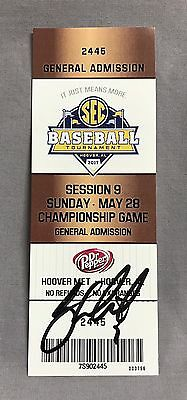 Greg Deichmann SIGNED 2017 SEC Baseball Championship Game Ticket Stub LSU Tigers