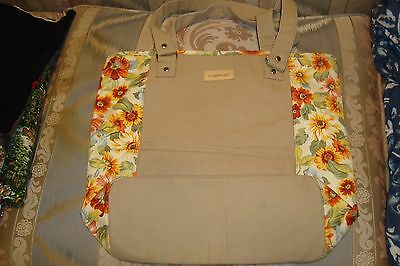 "Longaberger Tote Bag Beige Yellow Flower Side Panels 16"" W 14""H 5: Deep"