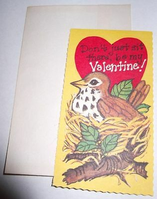 Vtg 1970s SPARROW BIRD Nest Don't Just Sit There Be My Valentine's Day Card