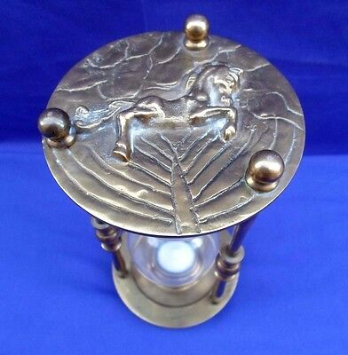 Vintage Heavy Brass Hourglass Hour Glass Sand Timer W/ Horse Motif Beautiful