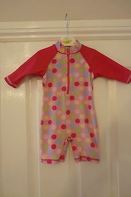 Baby Girls Mini Mode All In One Pink Spotty Swimsuit Age 3/6 Months