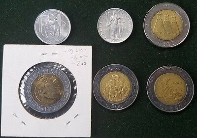 Vatican San Marino Lot 6 Coins Collection 5 500 Lira Bimetal 1963-1989 Rare Coin