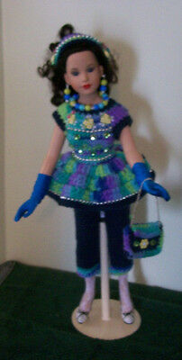 """Handmade Crochet 7 Piece Clothing & Accessories For 18"""" Kitty Collier Doll. 10+"""