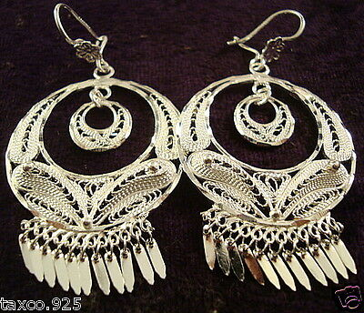 Taxco Mexican 925 Sterling Silver Filigree Deco Hoop Dangle Earrings Mexico