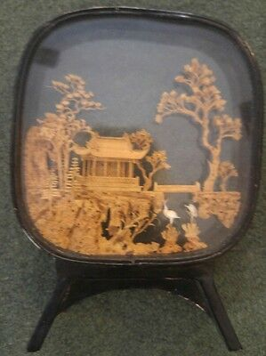 Vintage Asian Japanese Carved Cork Wood Scenic Diorama 3D FANTASTIC!!!