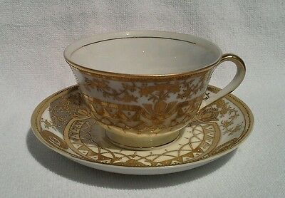 Vintage SHOFU Japan TEA CUP SAUCER SET white with Heavy Gold pattern