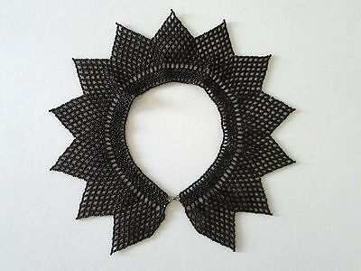 Vintage Black Beaded Collar, Art Deco Look - for Upcycling, Sewing, Jewelry, DIY