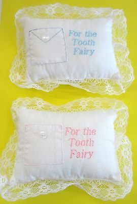 Baby Pillow Tooth Fairy Embroidered Girl Pink Boy Blue Ruffled Lace 5 x 7