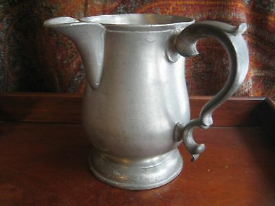 ANTIQUE PEWTER TANKARD SIDE SPOUT H & S LONDON RAILWAY HOTEL MARK  c 1800's