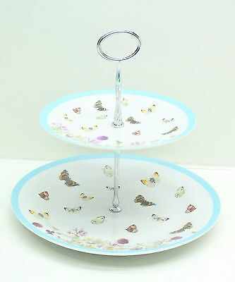 NEW The Country Diary Of Edwardian Lady Butterfly Meadow Two Tier Cake Stand