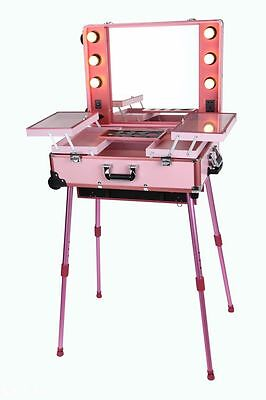 Lighted Makeup Station Beauty Cosmetic Case Wheeled Salon Studio Trolley & Legs