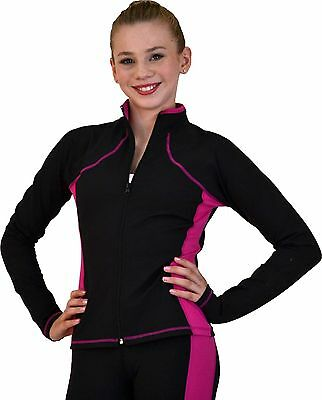 New Chloe Noel Ice Skating Jacket JS08 - Black / Fuchsia - Size CL