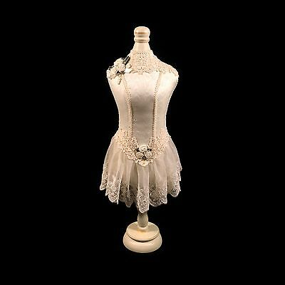"Victorian Style Ivory Lace Mini Dress Form Mannequin, 18""H"