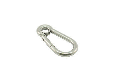 5 X AISI 316 Carbine Hook with Eye 8mm