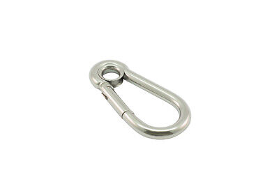 Pack of 5 X AISI 316 Carbine Hook with Eye 8mm