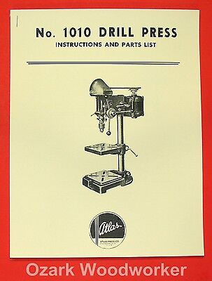 Atlas 1010 Drill Press Instructions & Parts Manual 0019