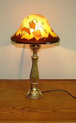 """French Reproduction Cameo Glass """"daum Nancy"""" Table Lamp  Europe  Post 1940"""