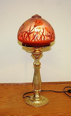 """French Reproduction Acid Etched Cameo Glass """"galle"""" Table Lamp Europe Post 1940"""