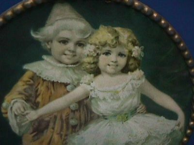 Antique Vintage Flue Cover Boy in Jester Outfit & Girl in Ballerina Dress (#15)