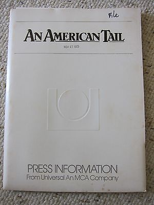 AN AMERICAN TAIL Press Kit - Animated - Don Bluth, Dom DeLuise