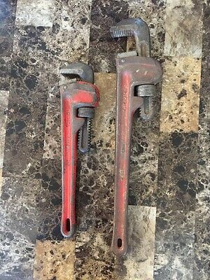 """Set Of 14"""" & 18"""" Ridgid Pipe Wrenches Heavy Duty"""