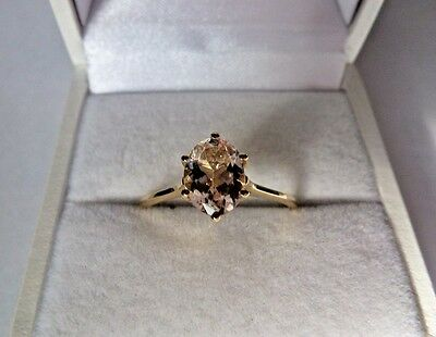 1.2 ct Natural Oval Cut Pink Morganite 10K Yellow Gold ring size 7