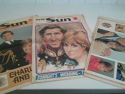 CHARLES+DIANA Wedding Souvenir Editions -1981 3 Papers The Sun/Herald