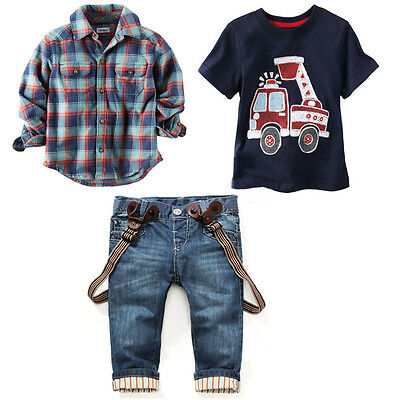 3PCS Baby Boys Shirt Tops + T-Shirt + Suspender Jeans Set Kids Clothes Outfits
