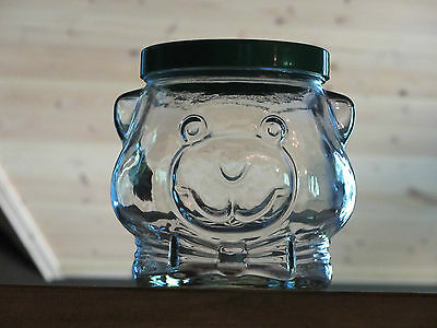 1989 Kraft Bear Smooth Peanut Butter Collectable Glass Cookie Jar Lid & Label