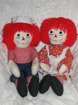 """Vintage Raggedy Ann & Andy Happy I LOVE YOU Dolls 25"""" Wearing Red w Soft Hair"""